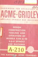 Acme Gridley R-RA & RB, 4-6-8 Spindle Bar Machines Operate & Tooling Manual 1961