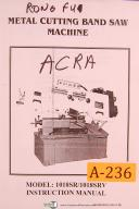 Acra Rong Fu, 1018SR & 1018SRV, Metal Band Saw, Operations & Parts List Manual