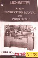 Acra Lux-Master 1340G, Lathe Machine, instructions and Parts Manual