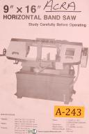 "Acra 9"" x 16"", Horizontal Band Saw, Operating Instructions and Parts List Manual"