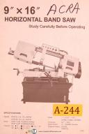 Acra 9 X 16, Horizontal Band Saw, Operators Instruct and Parts List Manual 1999