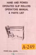 Acra China FR-P5016, Hand and Power Slip Rollers, OPeration & Parts List Manual