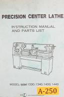 Acra China SSM 1330, 1340, 1430, 1440, Center Lathe, Instruction Manual & Parts