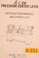Acra China 1340 1440, Center Lathe Instruction and Parts List Manual