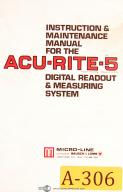 Acu-Rite 5 DRO, Micro-Line Bausch & Lamb, Instructions and Maintenance Manual