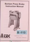 Atek Bantam Press Brake, Instructions Operations and Parts Manual Year (1997)