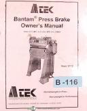 Atek Models B212 B412 B512 B224 B424 B624, Press Brake , Owner's Manual 2001