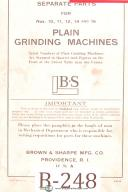Brown & Sharpe Nos. 10, 11, 12, 14, 16, Grinding Serparate Parts Manual 1936