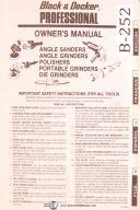"""Black & Decker Professional 7"""" & 9"""", Sander and Grinder, Owners Manual 1983"""