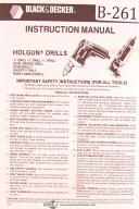 "Black & Decker 1/4"", 3/8"" and 1/2"" Holgun Drill, Operation and Parts Manual 1993"