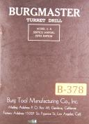 Burgmaster Turret Drill Model 2-A, Service Manual Year (1954)