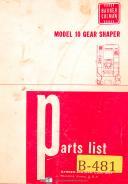 Barber Colman Model 10, Gear Shaper, Parts List Manual Year (1968)