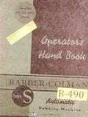 Barber Colman Type s, Automatic Hobbing Machine, Operation Manual Year (1943)