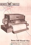 Barnes Drill, PE & MPW, Kleenall Filter, Maintenance & Operations Manual