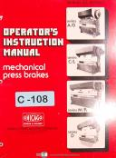 Chicago Dreis & Krump, AB CL MR & D, Mechanical Press Brakes, Operation Manual