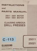 Clausing 25011 25021, Arboga Drill Press Motors, Instructions and Parts Manual