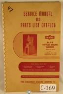 Cincinnati Service Manual and Parts Catalog #0-8 Vertical Milling Machine Manual