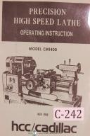 Cadillac HCC Operators CM 1400 14 Inch Standard Lathe Manual