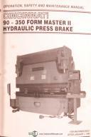 Cincinnati Form Master II, 90-350, Press Brakes, Training and Operations Manual