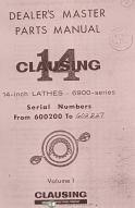 "Clausing 14"", 6900 Lathe, Service & Parts Manual Year (1965)"