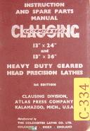 "Clausing 13"", Colchester Lathes, Instructions & Spare Parts Manual Year (1957)"