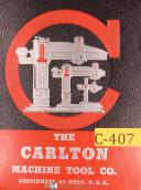 Carlton 3A, 4A & 5A, Radial Drill, Operations Maintenance and Parts List Manual