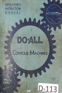 DoAll Contour Saw Operators Instruction V 16, V 36, ML Machine Manual