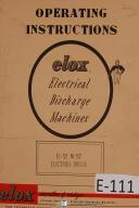 Elox EDM Electron Drill Mdl EJ-52 M-52, Operator's Instruction Manual