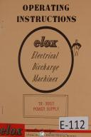 Elox EDM TR-300-2 Power Supply Machine, Operator's Manual