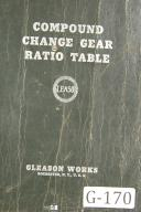Gleason Compound Change Gear Ratio Table Manual Year (1937)