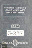 Gould Eberhardt Operators Instruction 24H Manufacturers Gear Hobbing Manual