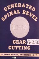 Gleason Generator Gear Cutters Machine Settings Cutter Tables Manual Year (1938)