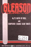 Gleason Nc 75 Ratio of Roll Compound Change Gear Tables Manual Year (1929)