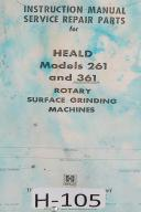 Heald Instruction Service Parts 261 and 361 Rotary Surface Grinding Manual