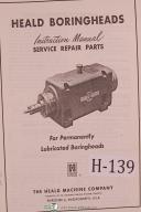 Heald Instruction Service Repair Parts Ball Taper Bearing Boringhead Manual