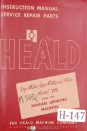 Heald Instruction Service Parts 171 Size-Gage-Matic Internal Grinding Manual