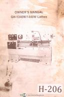 Acra Birmingham GH-1340W/1440W, lathes, Owners Manual
