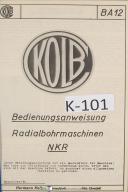 Kolb Operations NKR BA12 RadialBohrmaschinen Boring Manual
