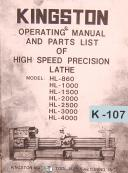 Kingston HL Series, Lathe, Operations & Parts List Manual