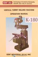 Kent USA KTM Vertical Turret Milling Machien Operation & Parts List Manual