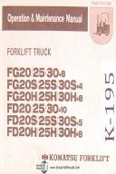 Komatsu Forklift FG & FD Series, Forklift Truck, Operations