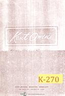Kent Owens 2-20, 2-Way Milling Machine, Parts List Manual Year (1953)