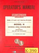 Kearney & Trecker Model H, Spiral Dividing Head Leads & Divisions Manual