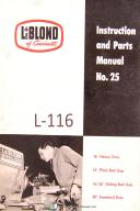"Leblond No. 25, 16"", 16/38"", 20"" Tool Room Lathe Operation, Parts Manual 1956"