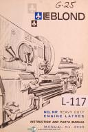 Leblond NQ, NR Engine Lathe Operators Instruction and Parts Manual Year (1966)