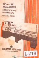 """Leblond, Makino, 15"""" and 19"""" Regal Lathes, M-3945 Instruction and Parts Manual"""