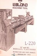 """Leblond 15"""" and 19"""" Regal lathes, 3932 Instruction and Parts Manual Year (1975)"""