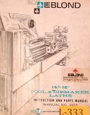"LeBlond 14"" & 16"", Tool Diemaker, 3925, lathe instructions & Parts Manual 1966"