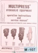 MultiPress C300 C400, Auto Single Cycle, Hydraulic Equipment Ops & Service Manual