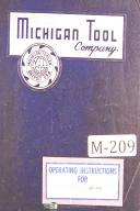 Michigan Tool No. 1124, Involute Checking Machines, Operations Manual Year 1935